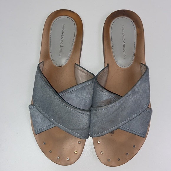 Zara | Criss Cross Sandals W/ Cow Hair 6.5